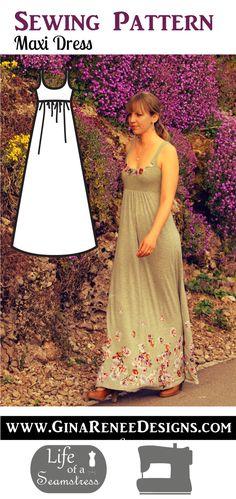 So Lovely...Maxi Long Dress Sewing Pattern by Gina Renee Designs. DIY Maxi Dress pattern