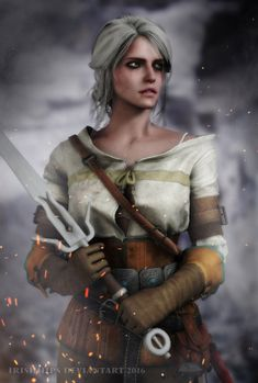 Ciri by Sticklove Posed, rendered in Max and edited in Photoshop by me Witcher Ciri - At Arms Ciri Witcher, Witcher Art, Witcher 3 Wild Hunt, The Witcher 3, Hottest Video Game Characters, Dark Art Paintings, Angry Girl, Female Armor, Female Characters
