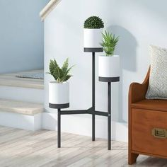 online shopping for Ezio Multi-Tiered Plant Stand Latitude Run from top store. See new offer for Ezio Multi-Tiered Plant Stand Latitude Run Small Potted Plants, Cool Plants, Indoor Plants, Indoor Gardening, Modern Plant Stand, Wood Plant Stand, Plant Stands, House Plants Decor, Plant Decor