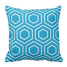 Decorative Square Blue and White Geometric Pattern Throw Pillowcovers Protector Zipper With Design Two Sides 18 x 18 Inches *** You can find out more details at the link of the image.