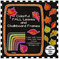 Colorful Fall Leaves and Chalkboard Frames  $ -This delightful fall set includes 12 colorful fall leaves, 5 color frames, 1 white chalk frame and 2 chalkboard papers. Great for adding a fun touch of fall to your creations.