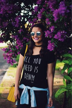 looksly - Martinha Fonseca do Armário de Madame com t-shirt All you need is denim