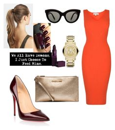 """""""red dress"""" by theminimalist01 ❤ liked on Polyvore featuring Christian Louboutin, Revlon, Lipstick Queen, Victoria Beckham, MICHAEL Michael Kors, Michael Kors and France Luxe"""