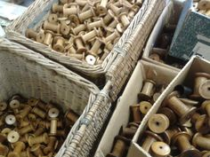 lovely old wooden bobbins at whitchurch silk mill.