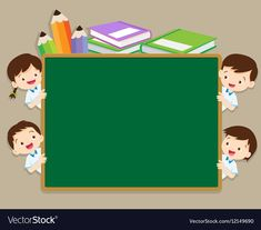 Children and space chalkboard vector image on VectorStock Classroom Background, Kids Background, Cartoon Background, Background For Powerpoint Presentation, Powerpoint Background Templates, Page Borders Design, Frame Border Design, Teachers Day Drawing, Teacher Cartoon