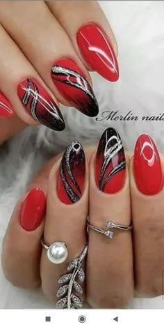 Red Nail Art, Pretty Nail Art, Red Nails, Swag Nails, Gel Nail Art Designs, Simple Nail Art Designs, Elegant Nails, Stylish Nails, Nagellack Design