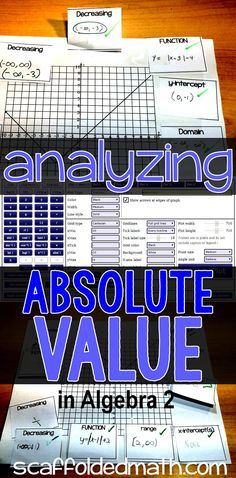 Super easy collaborative activity for analyzing absolute value graphs for domain, range, increasing, decreasing, their vertex and function in Algebra 2.