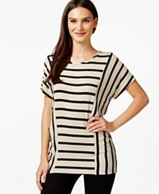INC International Concepts Striped Dolman-Sleeve Tunic, Only at Macy's