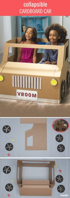 Instead of throwing away your large boxes, transform one into a fun toy for your little ones! Playhouses can be expensive, but with this simple hack you can create a DIY Collapsible Cardboard Car. Make a basic play car or get fancy with car accessories! Add velcro so they're removable and easy for storing under your kids' bed or in a closet once playtime is over. It's especially great for small rooms and avoiding clutter! Click for the DIY play car tutorial.