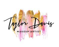 Premade Logo - acuarela Logo - logotipo - oro pinceladas pinceles Glitter pintura Logo - logotipo de empresa de Maquillaje artista belleza fotografía