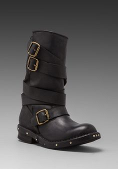 JEFFREY CAMPBELL Brit Leather Moto Boot in Black - Jeffrey Campbell