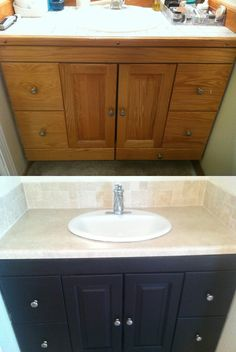 Before and After Espresso Stain Bathroom Cabinets