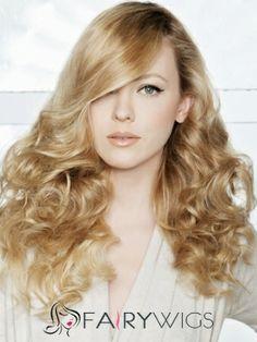 Popurlar Medium Blonde Female Wavy Vogue Wigs 16 Inch