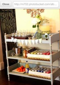Changing Table Repurposed into A Serving Station!! BRILLIANT!! I'd even attach lockable wheels for the ultimate usage & transportability!    *Pic Courtesy of PhotoBucket as seen at top of photo
