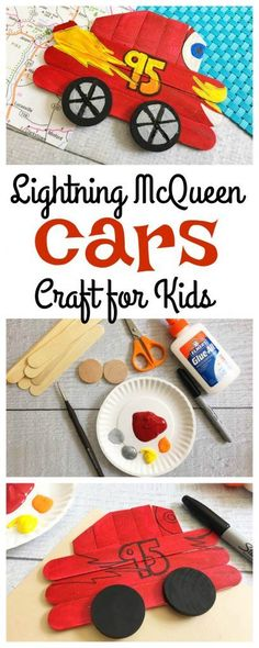 Disney Lightning McQueen Craft for Kids #Disney #cars3movie https://www.southernfamilyfun.com/disney-lightning-mcqueen-craft-for-kids-disney/