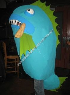 Homemade Killer Fish Halloween Costume Idea: The Homemade Killer Fish Halloween Costume Idea  took me about two and a half days to complete. I constructed it entirely out of cardboard, masking tape,