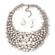 WOMENS JEWELLERY - HOT SALE BIB COLLAR CHOKER PEARL NECKLACE   FREE DELIVERY