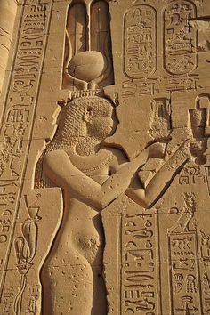 One of the few temple wall carvings depicting Cleopatra, Dendera temple, Egypt: