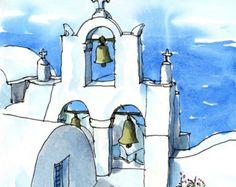 Santorini Oia 12 Griechenland Kunstdruck aus einem original Aquarell
