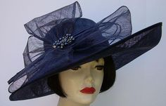 Great Derby Hat!  Navy Large Bow/Jeweled