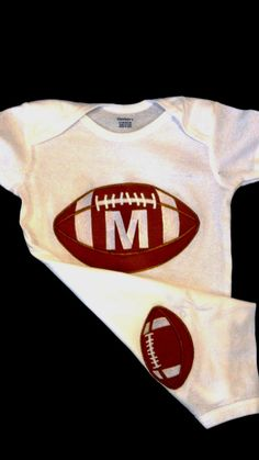 Monogrammed  Football Onesie  Baby Boy . Perfect for Twins ....Sports  Gift Set. $19.95, via Etsy.