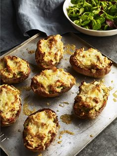 Perfect for an evening in front of the fire and a film, or why not try with salad potatoes as a canape? Potato Dishes, Potato Recipes, Jacket Potato Recipe, Vegetarian Recipes, Cooking Recipes, Halal Recipes, Potato Skins, Tasty Bites, Irish Recipes