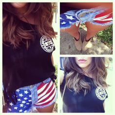DIY American Flag Shorts   DISCOairglow