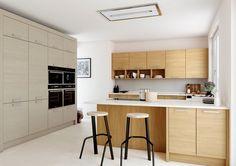 Modern kitchens oak fronts white worktops 3d Rueckwand
