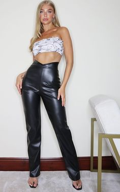 The Black Faux Leather V Waist Trousers. Head online and shop this season's range of trousers at PrettyLittleThing. Cheap Clothes, Cheap Dresses, Clothes For Sale, Clothes For Women, Faux Leather Fabric, Black Faux Leather, Funky Pants, Basic Leggings, Lace Up Trainers