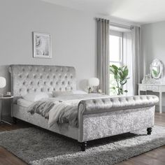 Silver Crushed Velvet Sleigh Bed Frame King Size DETAILS Built for lie-ins, afternoon naps, early ni Velvet Upholstered Bed, Upholstered Bed Frame, Headboard And Footboard, Headboards For Beds, Fabric Headboards, Bunk Beds, Fabric Sleigh Bed, Sleigh Bed Frame, Sleigh Beds