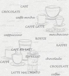 Papel pintado con tazas y tipos de café gris fondo blanco Italian Coffee 421638