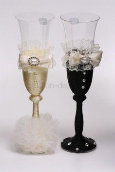 Оформление свадебных бокалов своими руками - мастер класс от Pion-decor