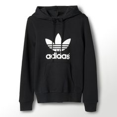 Adidas Trefoil Logo Hoodie (1.340.130 VND) ❤ liked on Polyvore featuring tops, hoodies, shirts, sweaters, jackets, black, black hooded sweatshirt, print shirts, hooded shirt and black oversized shirt