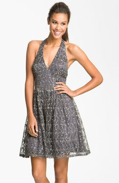 Adrianna Papell Sequin Lace Halter Dress (Petite) available at #Nordstrom