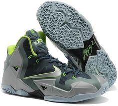 Lebron 11 PS Elite Light Grey Black Green Shoes e6d9fa08a