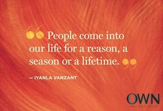 People come into our life for a reason, a season, or a lifetime.  ~Iyanla Vanzant