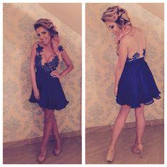 #mademoiselle #atelier #dress #blue #lace #handmade #silk