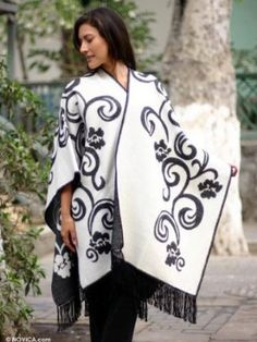 Reversible alpaca blend ruana cloak, 'Silhouette' NOVICA. $112.95