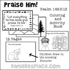 Praise Him! Psalm 148, Printable Coloring Book and Activity Bible Craft for Sunday School from www.daniellesplace.com