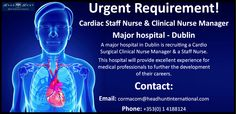**Exciting career opportunity with a major hospital in Dublin** Clinical Nurse, Career Opportunities, Dublin, Nursing, Opportunity, Health Care, Medical, Medicine, Med School