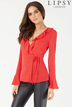 Buy Lipsy Polka Dot Ruffle Front Wrap Blouse from the Next UK online shop