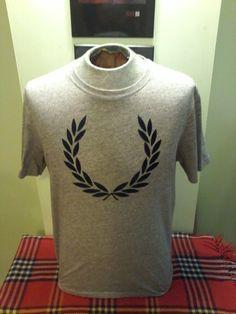Vintage Fred Perry Large Crest Unisex Salt & Pepper T-Shirt by VintageMixWest on Etsy