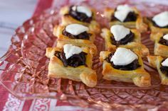 Carmelized onion and goat cheese tartlets make a great addition to any savory afternoon tea course! Pepperidge Farm Puff Pastry, Carmelized Onions, Tea Blog, Puff Pastry Sheets, Pastry Brushes, Goat Cheese, Afternoon Tea, Tea Time, Tart