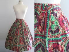 1950s Tribal Skirt / Vintage 50s Mode O' by SavvySpinsterVintage