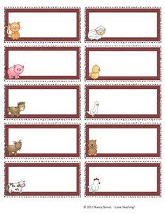 Back to School Farm Animal Name Tags Preschool Name Tags, Preschool Cubbies, Reward Chart Template, Name Tag Templates, Cubby Labels, Bin Labels, Animal Activities, Baby Activities, Name Tag For School