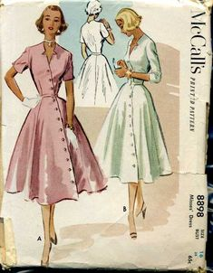 McCalls 8898 © 1952 Vintage Diagonal Button Front Dress Star Cutout Neckline Perfect style for Ruth 40s Mode, Retro Mode, Vintage Mode, 1950 Style, Vintage Outfits, Vintage 1950s Dresses, 1950s Dress Patterns, Vintage Sewing Patterns, 1950s Fashion