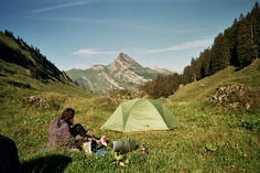 camping in the valley, the mountain in view