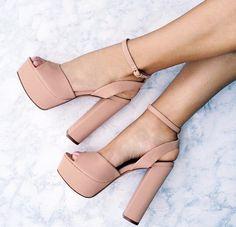 #chunky #heels #nude #ankle #strap #peeptoe