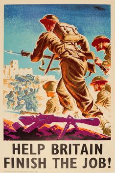 Help Britain Finish the Job WWII Soldiers 1940s - original vintage World War Two poster by Marc Stone listed on AntikBar.co.uk