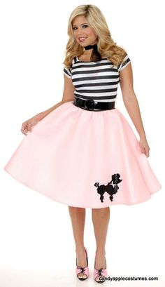 Adult 50's Felt Poodle Skirt - Pink, Red, Black, Purple, Blue - Candy Apple Costumes
